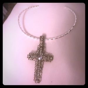 Jewelry - Silver color checker and cross pendant
